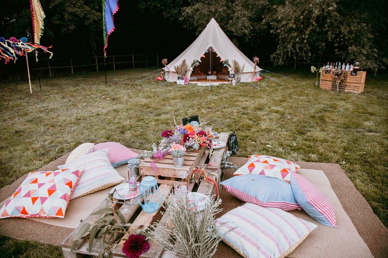 Cushion seating area and tipi for festival hen party