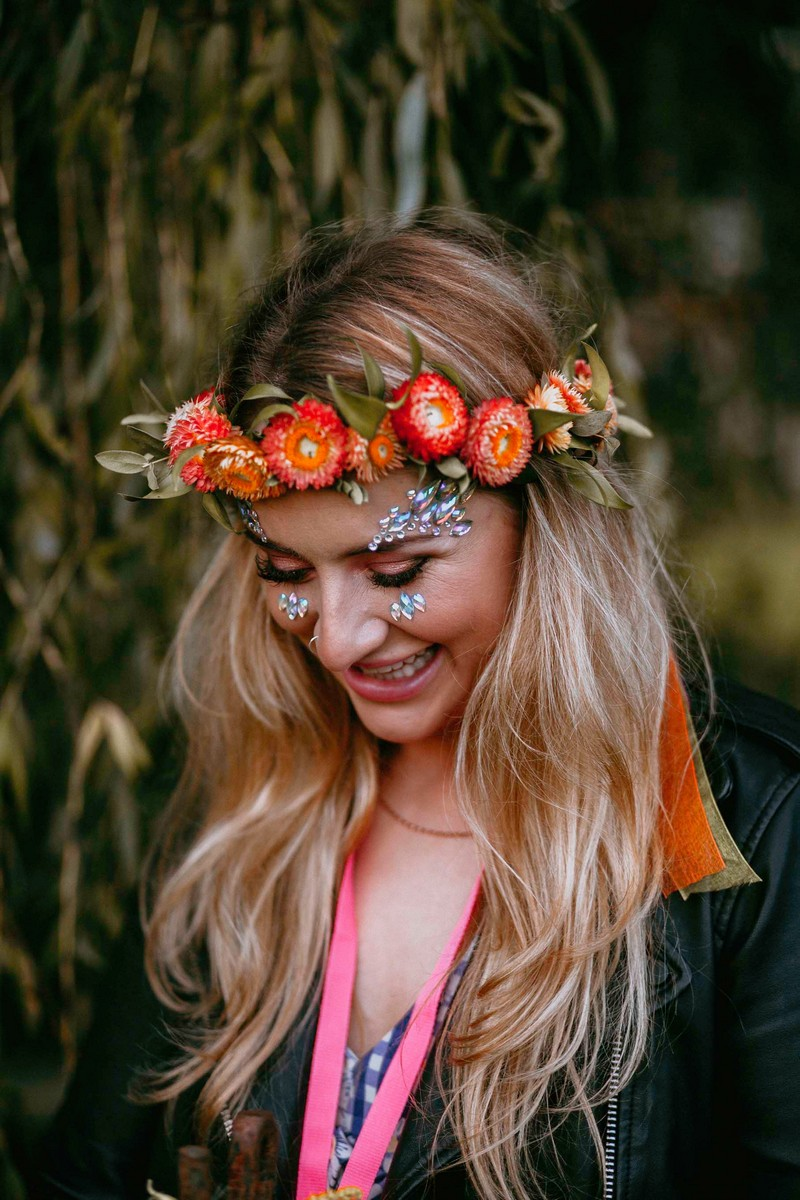 Girl wearing flower crown