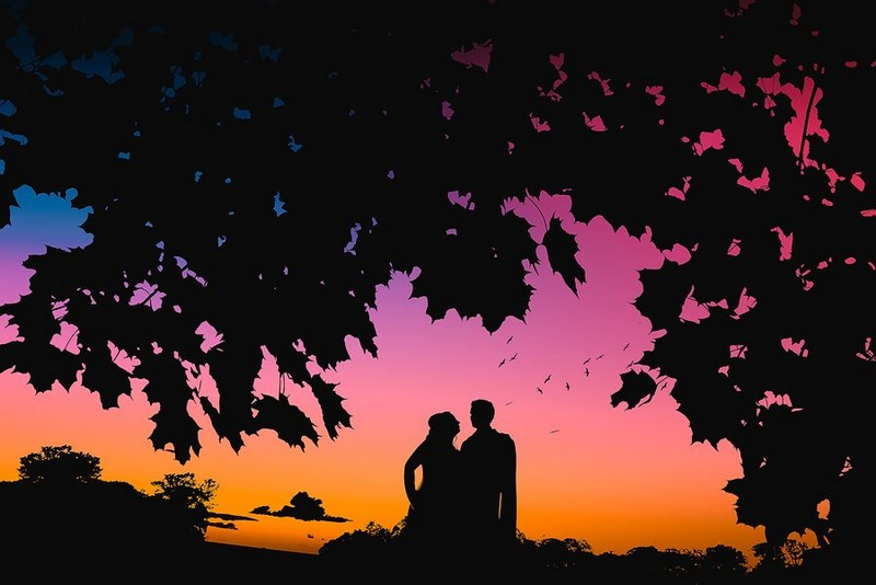 Silhouette of bride and groom surrounded by trees with colourful sky - Picture by Richards & Co Photography