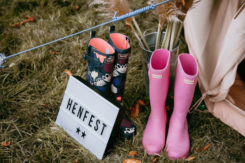 Henfest sign and Wellington boots