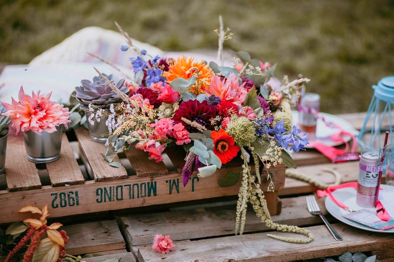 Colourful flowers on pallet