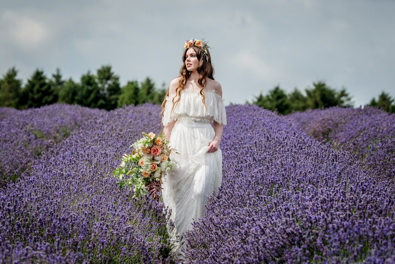 Bride holding up skirt as she walks through field of lavender