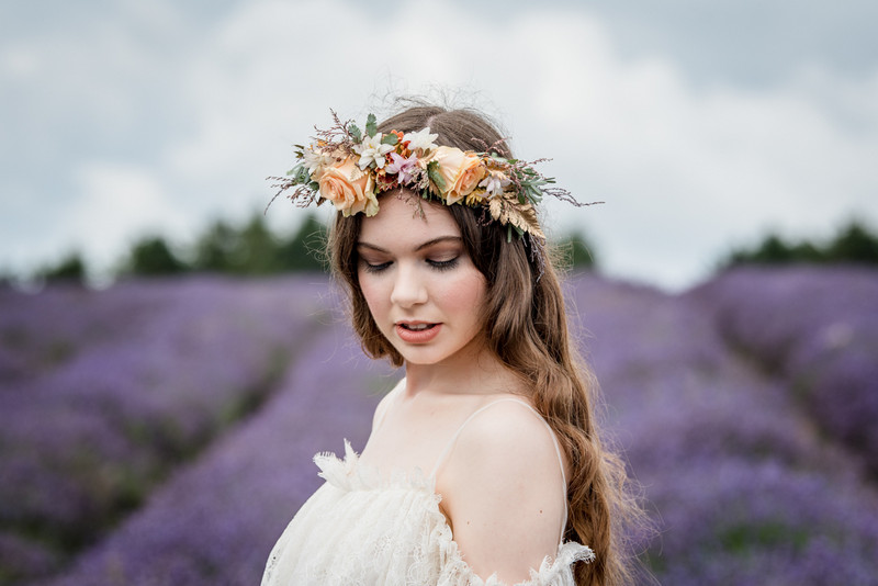 Bride wearing flower crown