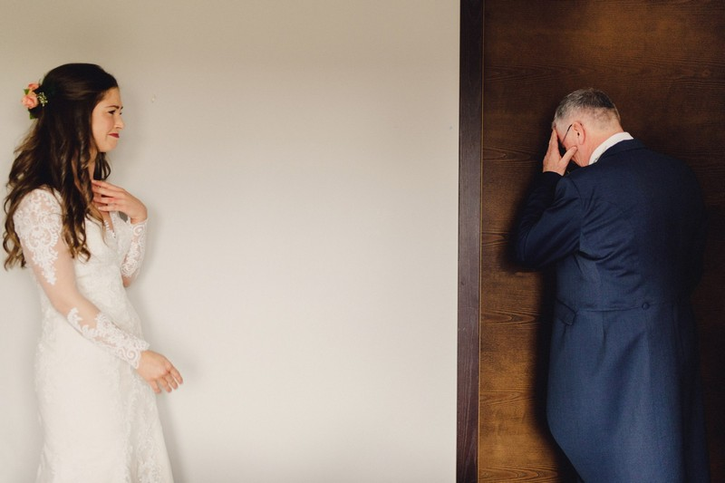 Emotional father seeing bride in her wedding dress for first time - Picture by Ash Davenport of MIKI Studios