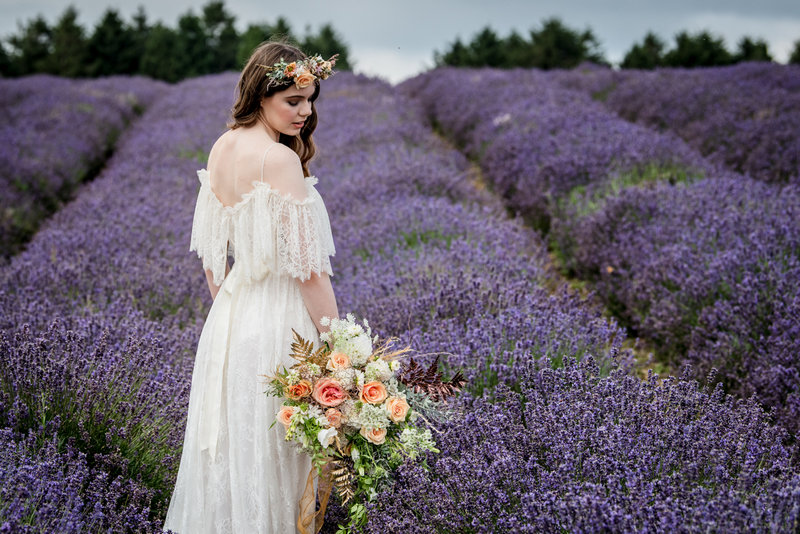 Bride walking through field of lavender