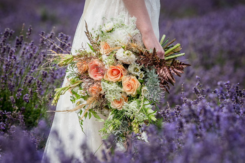 Bride's bouquet next to lavender