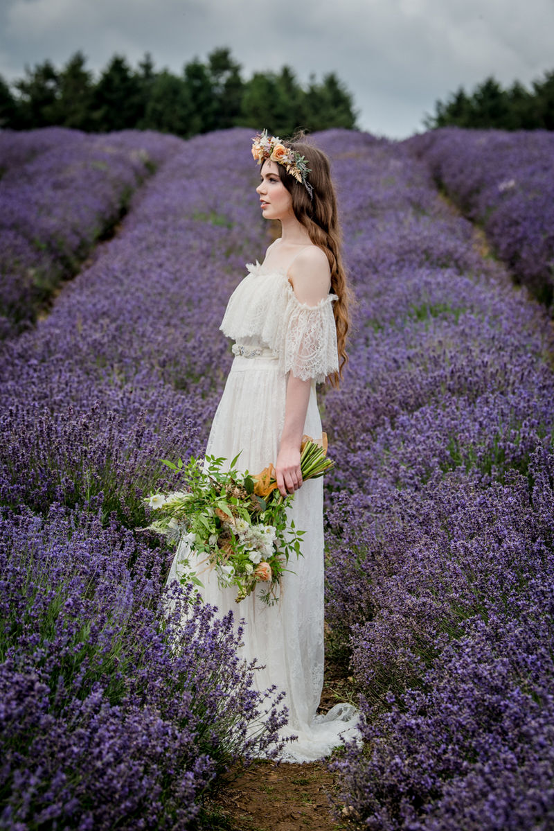 Bride side on in Cotswold Lavender Field
