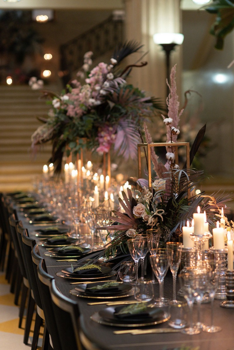 Wedding table with large floral displays