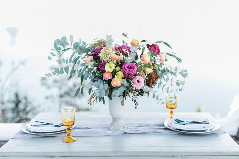 Colourful table flowers