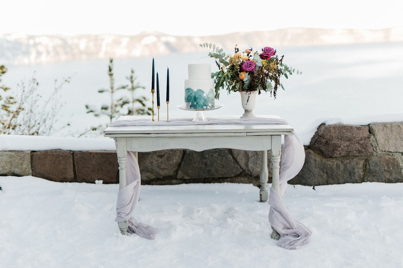 Cake table in snow