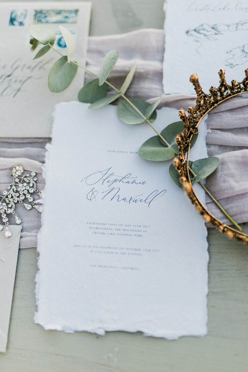Simple elopement invitation
