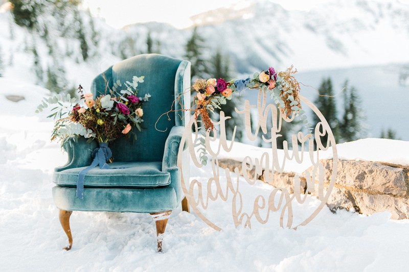 Chair and hoop sign in snow