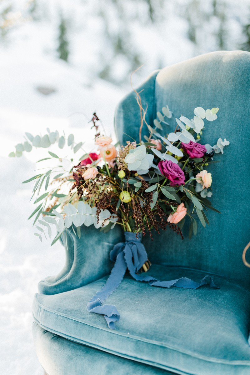 Bouquet on blue chair