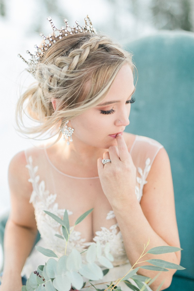 Bride with braid updo hairstyle