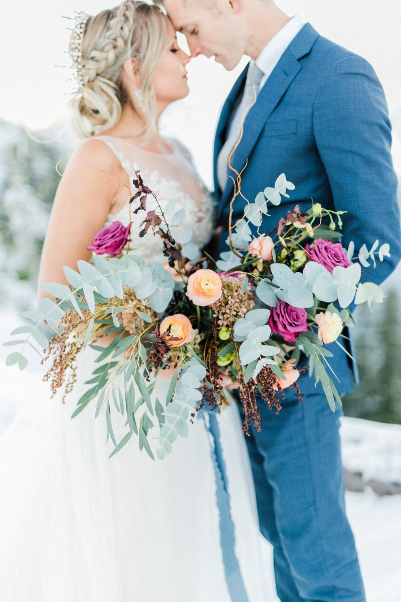 Colourful winter bridal bouquet