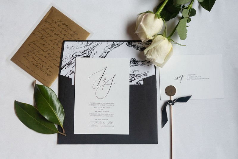 Black and white stationery for city chic wedding