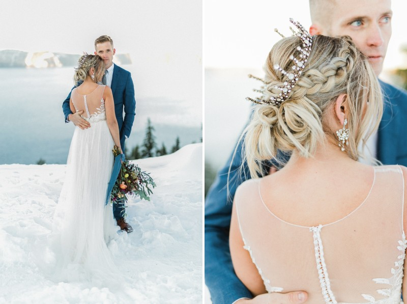 Bride with braid updo standing with groom in snow