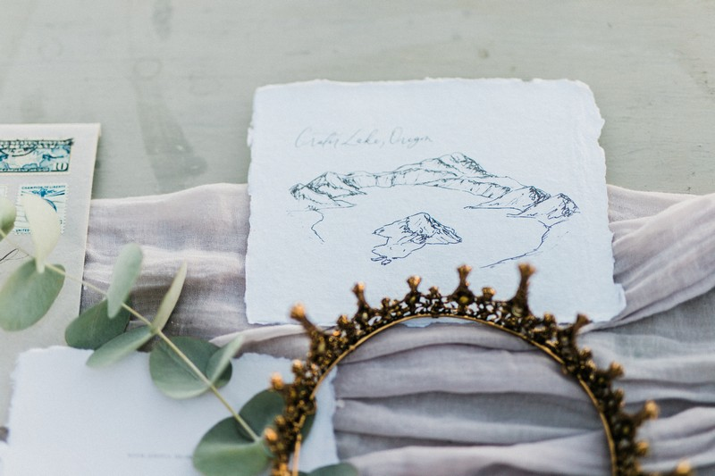 Elopement stationery with Crater Lake sketch