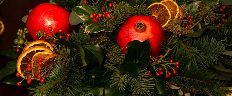 Christmas foliage and pomegranate