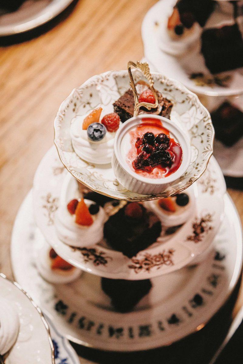 Desserts on homemade cake stand