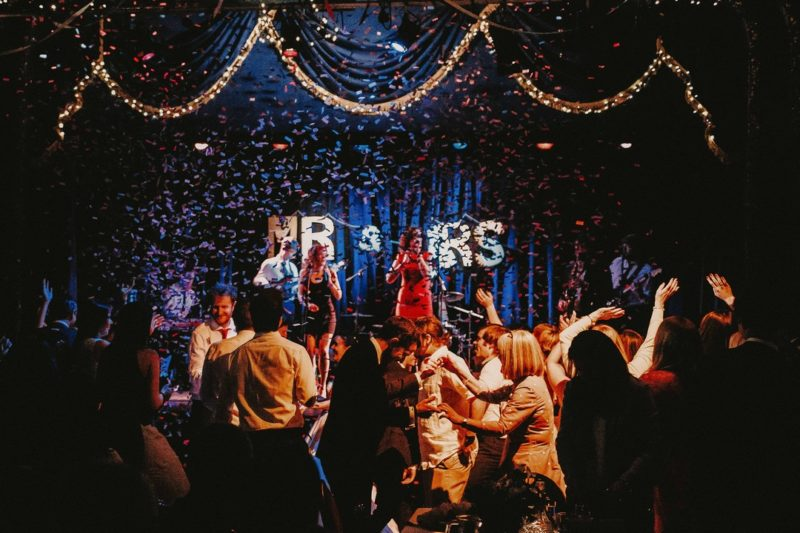 Wedding guests dancing in the Marine Theatre in Lyme Regis