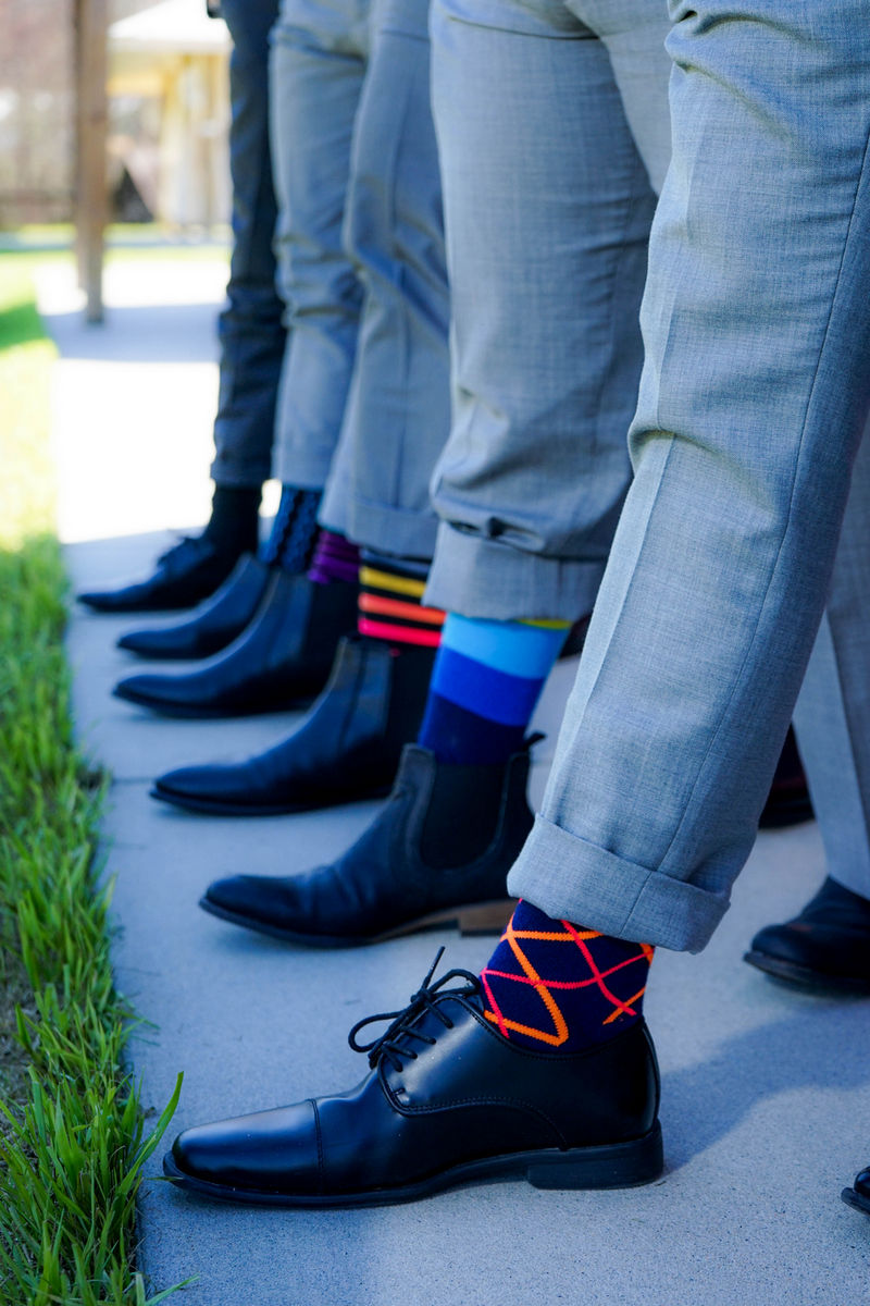 Groomsmen Wearing Funky Socks