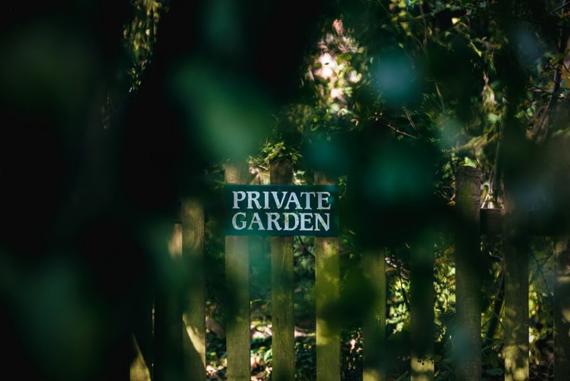 Private garden sign at The Moat House