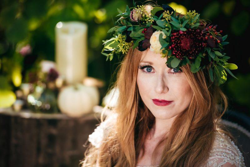 Redhead bride wearing flower crown