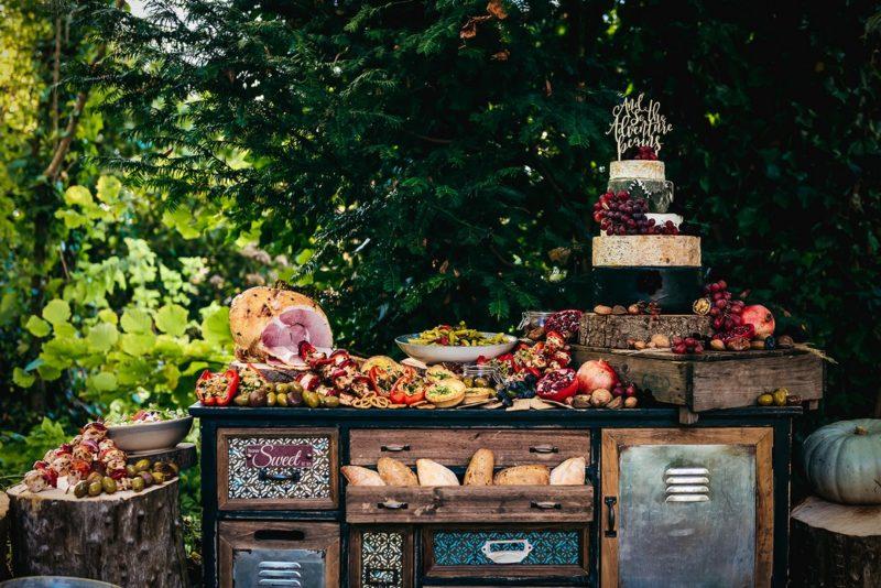 Feast table full of wedding food