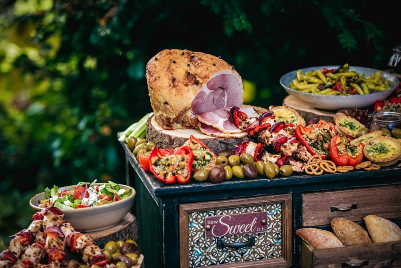 Food on top of feast table