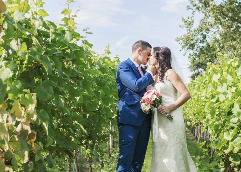 Bride and groom kissing in vineyard - Picture by Rebecca Gurden Photography