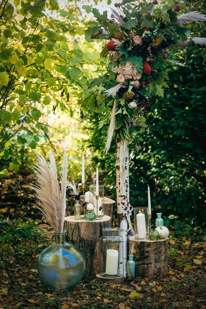 Candles and glass vases on stumps in woodland