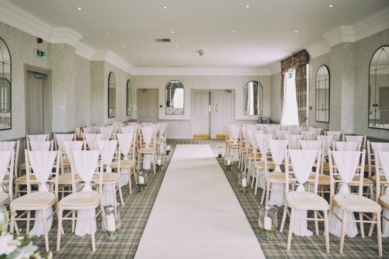 Wedding chairs in ceremony room of The Devonshire Fell