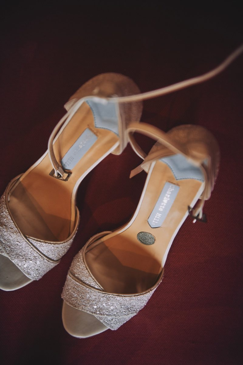 Wedding shoes with sixpence in them