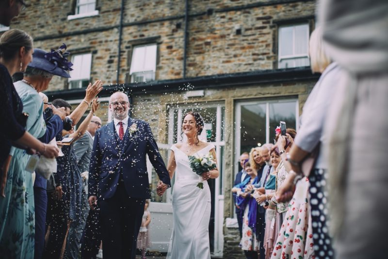 Confetti shower outside The Devonshire Fell