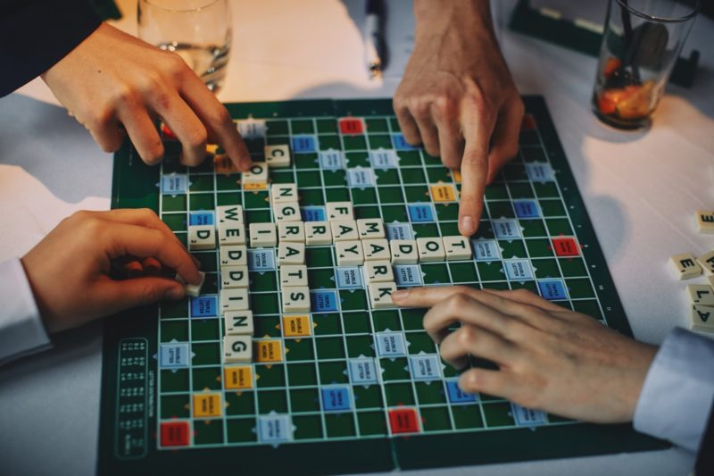 Playing Scrabble at wedding