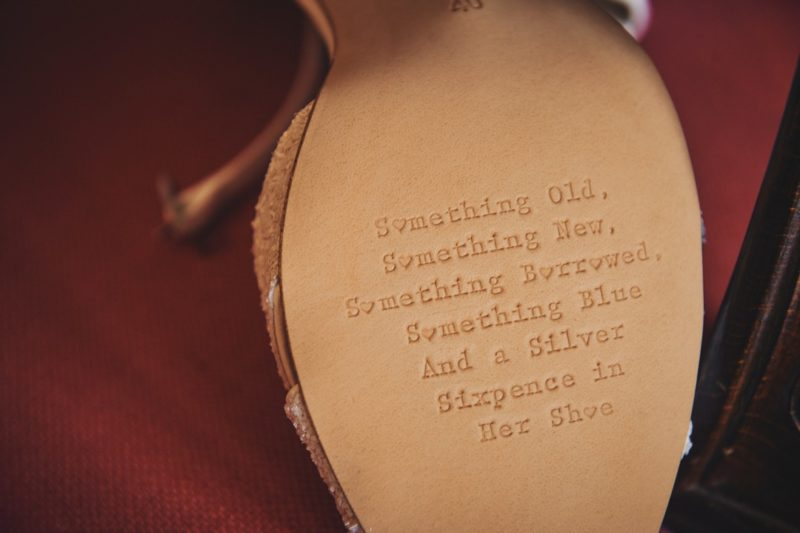 Message on bottom of wedding shoe