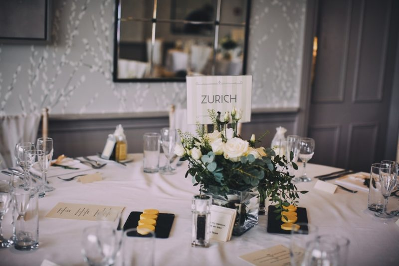 Wedding table flowers and Zurich table name card