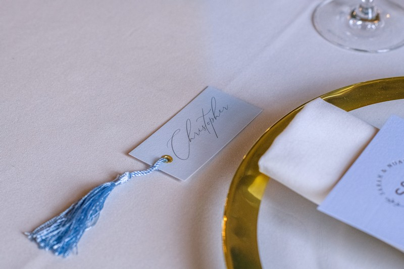 Pale blue wedding place tag