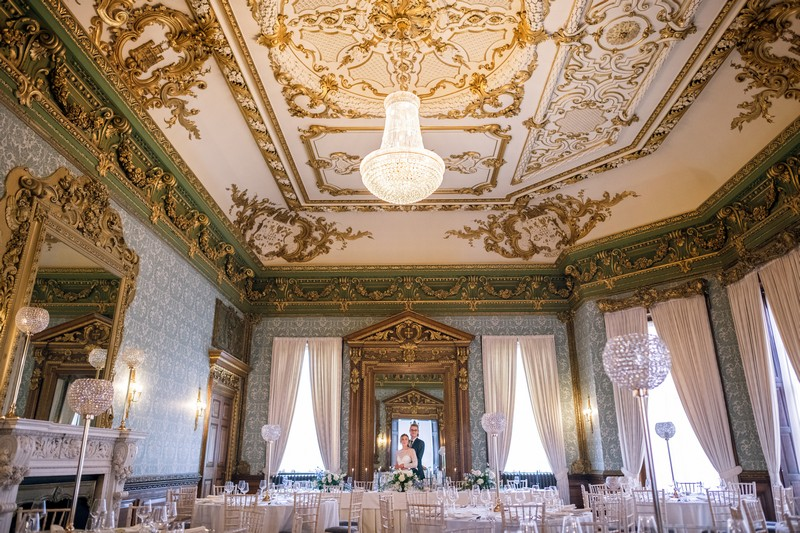 Elaborate ceiling in The Ballroom at Hawkstone Hall