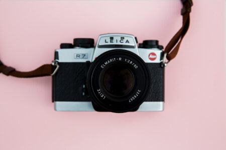 Leica Camera On Pink Background