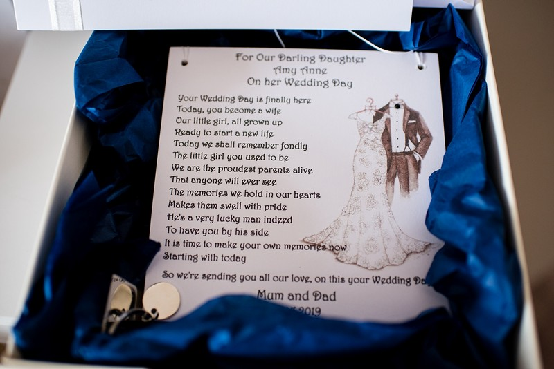 Wedding day message to bride from parents