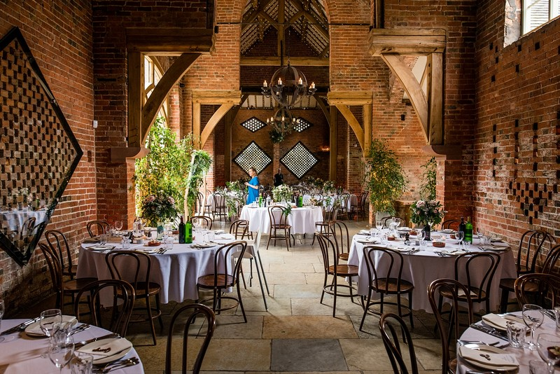 Wedding tables in Shustoke Barn