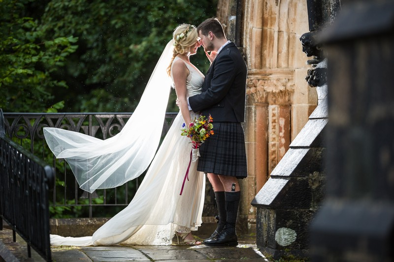 Bride and groom in kilt
