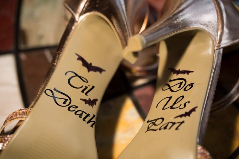 Til Death Do Us Part written on bottom of bridal shoes