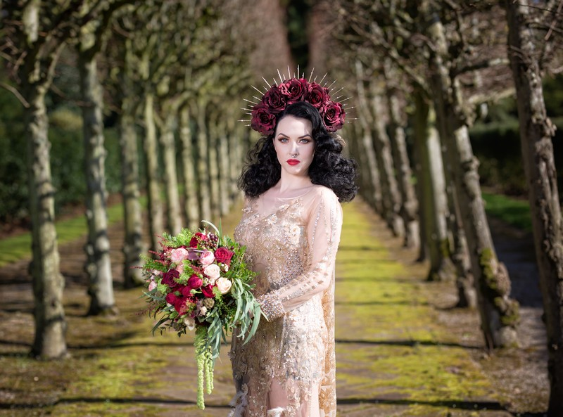 Gothic bride with large floral headband