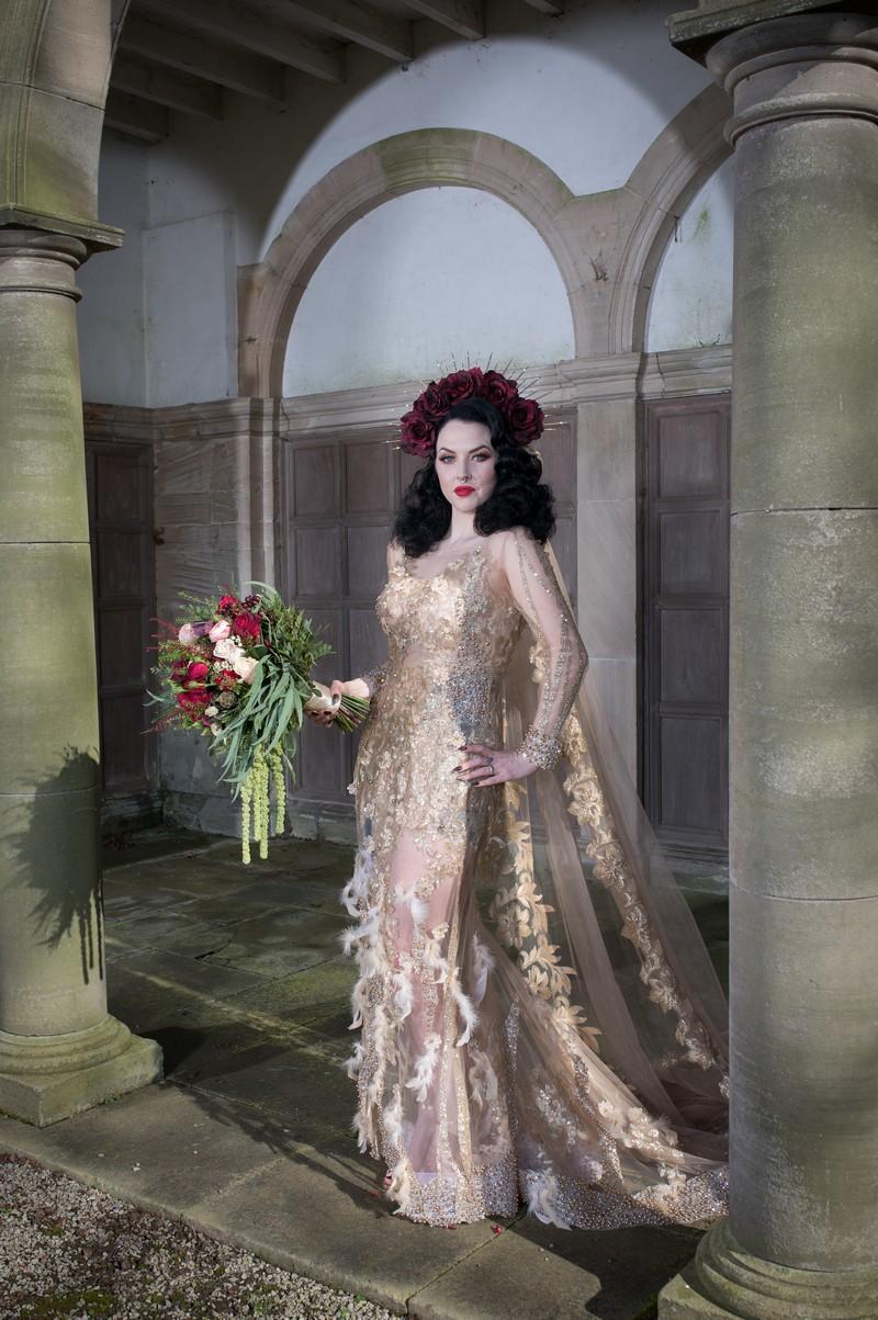 Gothic bride posing