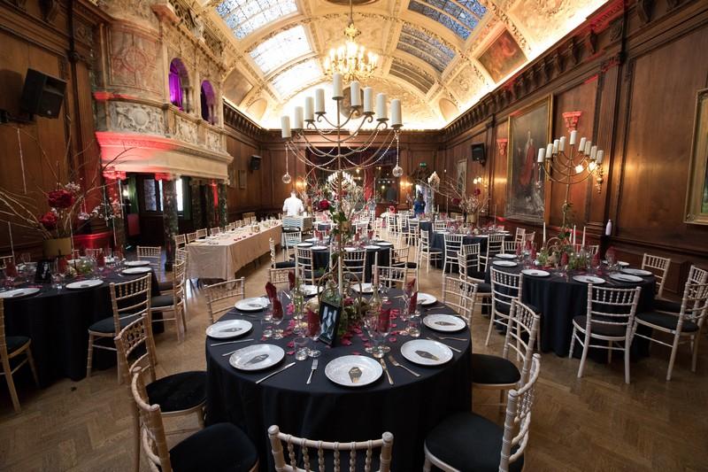 Wedding breakfast set-up at Thornton Manor for Gothic wedding