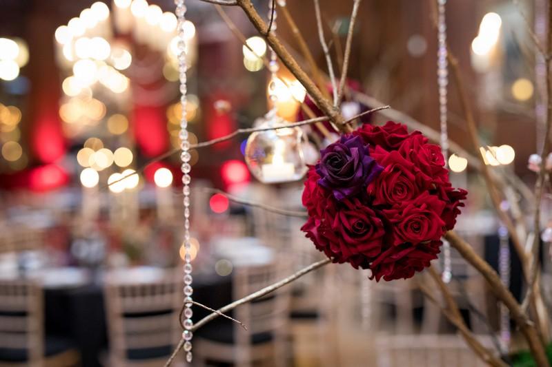 Ball of roses wedding decoration