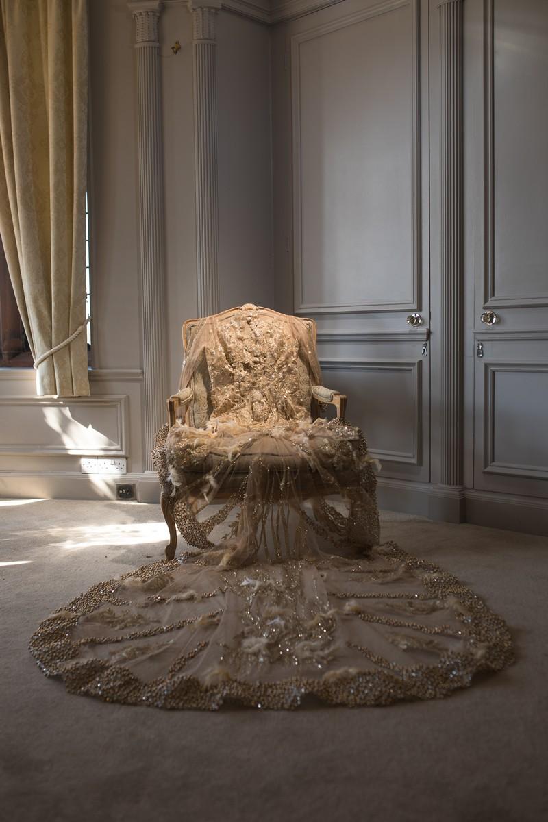Wedding dress on chair